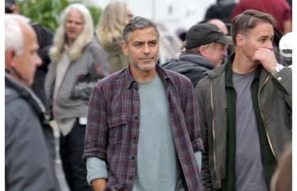 George Clooney on the set during the filming of Tomorrowland in Vancouver, Sept 16, 2013.